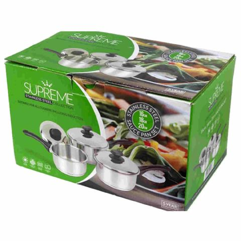 Pendeford Supreme 3 Piece Stainless Steel Saucepan Set Glass Lids